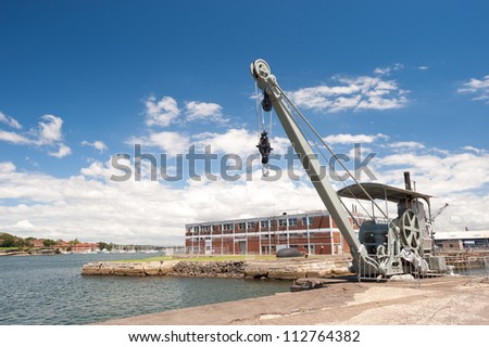 This image shows Industrial Cockatoo Island,  Sydney, Australia. - stock photo