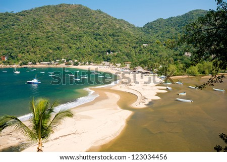 This image shows the beach at  Yelapa in Mexico (Near Puerto Vallarta) - stock photo