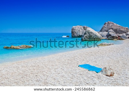 This image shows the idyllic beach, sardinia, Italy