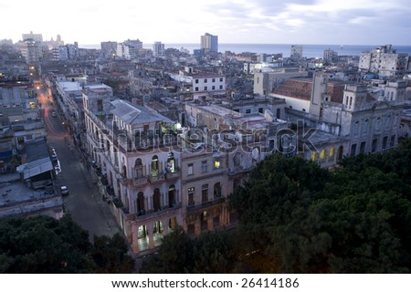This image shows the late afternoon sun over centro Havana, Cuba