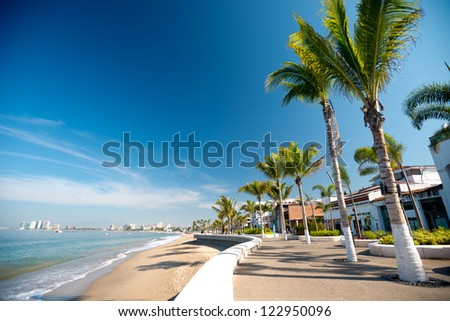 This image shows the malecon in Puerto Vallarta, Jalisco, Mexico - stock photo