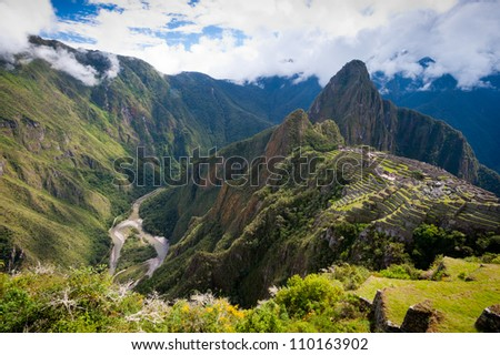 This image shows the Manchu Picchu complex in Peru. - stock photo