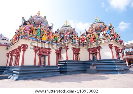 This image shows the Sri Mariamman Hindu Temple, Chinatown - Singapore - stock photo