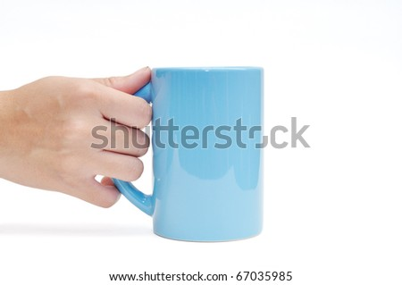 This is a blue cup in hand in isolated shot