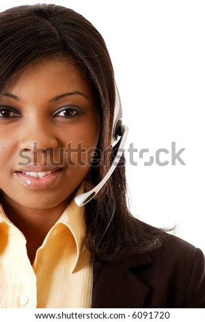 This is a close-up image of a female call operator. This image can be used for telecommunication and service themes. (Editted over white for easy clipping) - stock photo