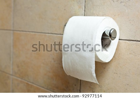 This is a closeup of a toilet paper - stock photo