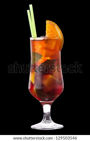 this is a cocktail on a black background