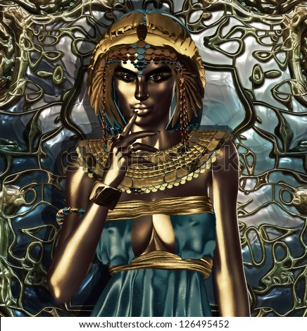 This is a conceptual interpretation of an exorbitantly attired ancient Egyptian queen who had an extensive knowledge about metals. Metallic Queen, Her alchemy changed the world.