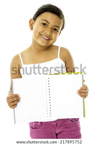 This is a cute and a young girl, she have a book and her hands - stock photo