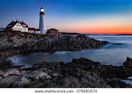 This is a fall image of the coastline of Maine USA. The lighthouse in the image is the Portland Head Light. I got up at 4:00 am to find the perfect spot for the sunrise.