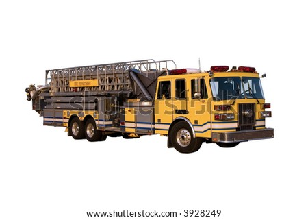 This is a front angle view of a fire truck with a ladder and bucket isolated on a white background.