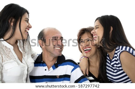 this is a happy and a always together family  - stock photo