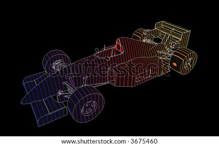 This is a high resolution technical illustration of a Formula 1 Racing Car. - stock photo