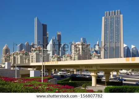 This is a new road in Dubai. - stock photo