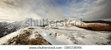 This is a panoramic view from the summit of Barrow looking towards the string of peaks commonly known as the Coledale Horseshoe.  - stock photo