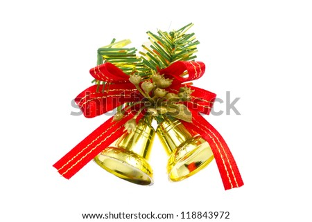 This is a photo of the bell decorated with Christmas. - stock photo