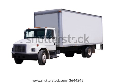 This is a picture of a typical six wheel city delivery cargo vehicle with a blank white van box. isolated on white. - stock photo