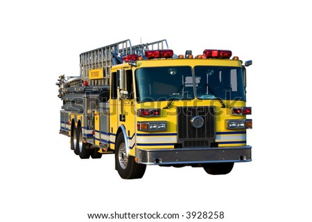 This is a picture of the front of a yellow fire truck used for reaching fires in high places, such as, tall office buildings. Isolated on a white background.
