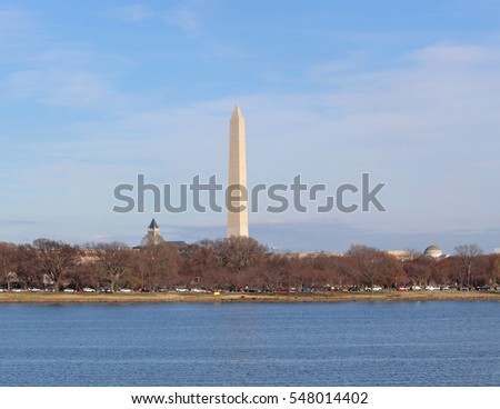 This is a picture of the Washington Monument in the Nations Capital, Washington D.C. This picture was taken from Crystal City, Virginia near Reagan National Airport in December.