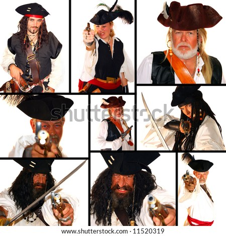 This is a pirate themed collage. All isolated on white and Model Release for everyone! - stock photo