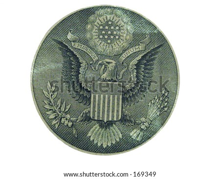 This is a round silo of the American eagle from US currency.