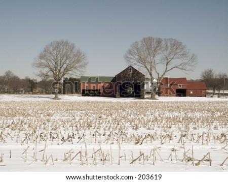 This is a shot of a farm with a slight sepia effect tone over the color.  - stock photo