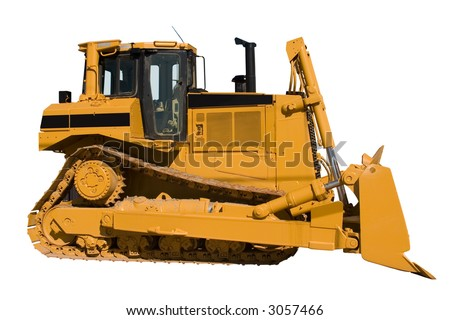 This is a side view of a new bulldozer isolated on white.