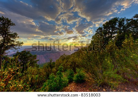 This is a sunset on the remote Timp PoInt on the North Rim of the Grand Canyon National Park. - stock photo
