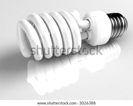 This is a type of energy saving lightbulb that will fit into standard light bulb socket. High quality 3D rendering over white reflecting background. - stock photo
