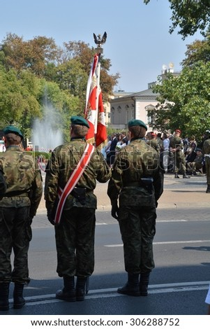 This is a view of ceremony of Polish Army Day. August 15, 2015. Lublin, Poland.