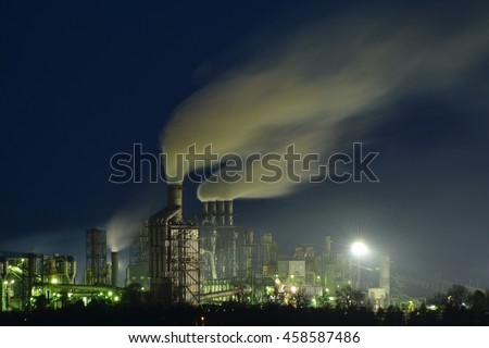 This is a view of factory in Zary at night. April 29, 2016. Zary, Poland. - stock photo