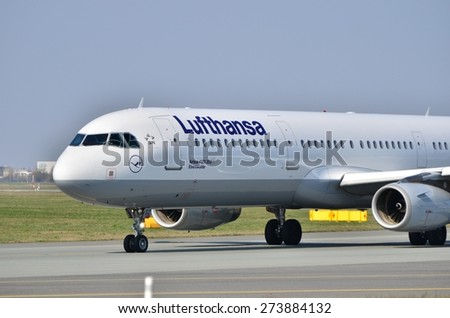 This is a view of Lufthansa plane Airbus A321 registered as D-AISZ on the Warsaw Chopin Airport. April 11, 2015. Warsaw, Poland.