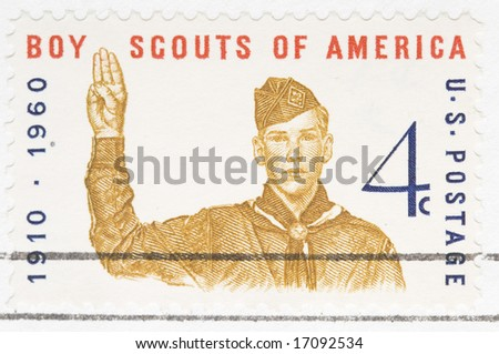 This is a Vintage 1960 canceled US stamp Boy Scouts of America - stock photo