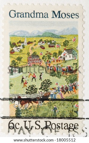 This is a Vintage 1968 Stamp Grandma Moses - stock photo