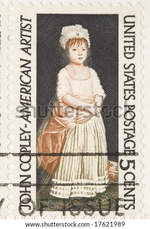 This is a Vintage 1964 Stamp John Copley - stock photo