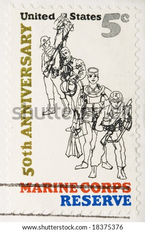 This is a vintage 1966  Stamp Marine Corps Reserve