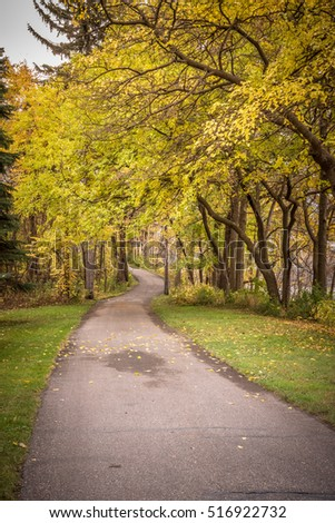 This is a walking path at Riverfront Regional Park in Fridley, Minnesota during autumn.