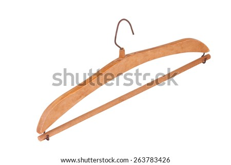 This is a wooden coat hanger than old times. Very beautiful design. This object isolated on white background.