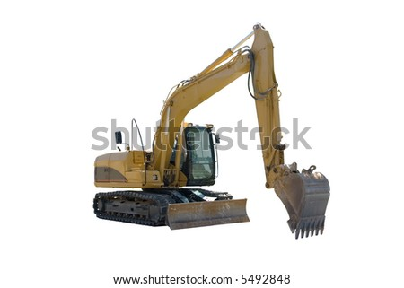This is a yellow excavator ready to start digging, Isolated on a white background. - stock photo