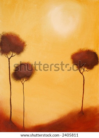 This is an abstract painting of three trees with the sun in the backgraound. - stock photo