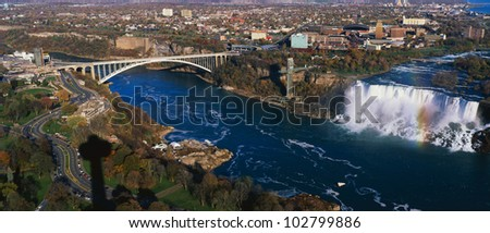 This is an aerial view of the American Falls and Rainbow Bridge. - stock photo
