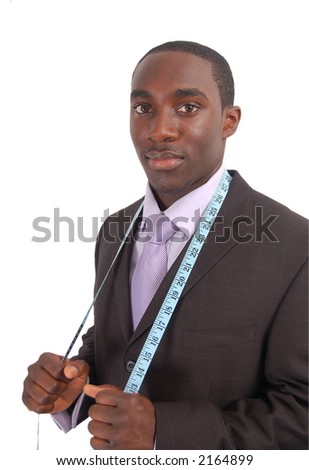 This is an image of a black business man, wearing a measuring tape round his neck. - stock photo
