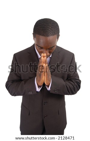 "This is an image of a business man bowing his head, as a sign of respect. This can also represent ""Prayer"", ""Wishing"", ""Appreciation"" etc... - stock photo"