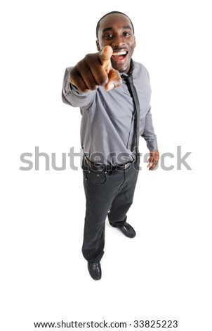 This is an image of a business man laughing and pointing.