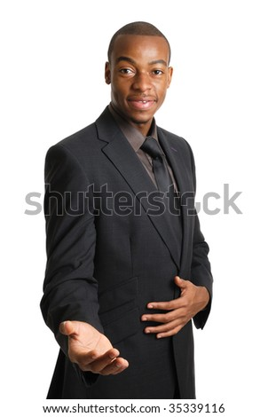 This is an image of a business man offering a handshake and help.