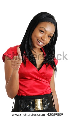 This is an image of a business woman giving thumbs up. - stock photo