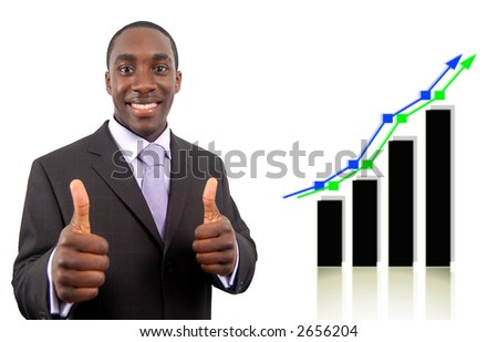 This is an image of a businessman excited due to a double rise in profits, symbolised by the graph behind him. - stock photo