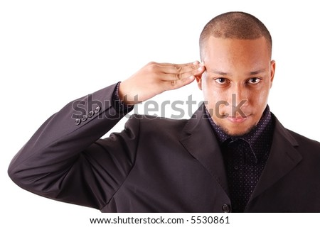 This is an image of a businessman giving a salute.