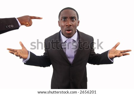 "This is an image of a businessman making protesting against accusation. This image can be used to represent ""Protest"", ""Anger"" etc.. - stock photo"