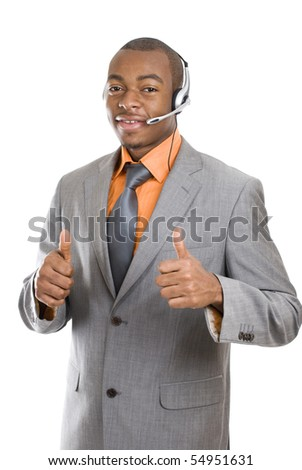 This is an image of a customer support operator. - stock photo